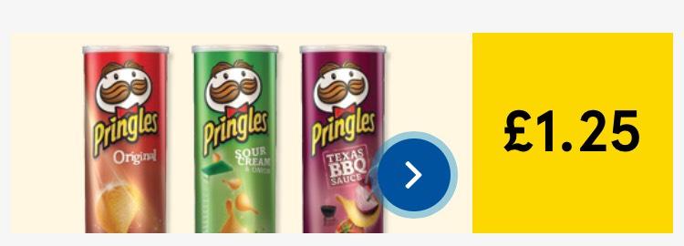 Pringles Crisps 200g £1.25 @ Tesco