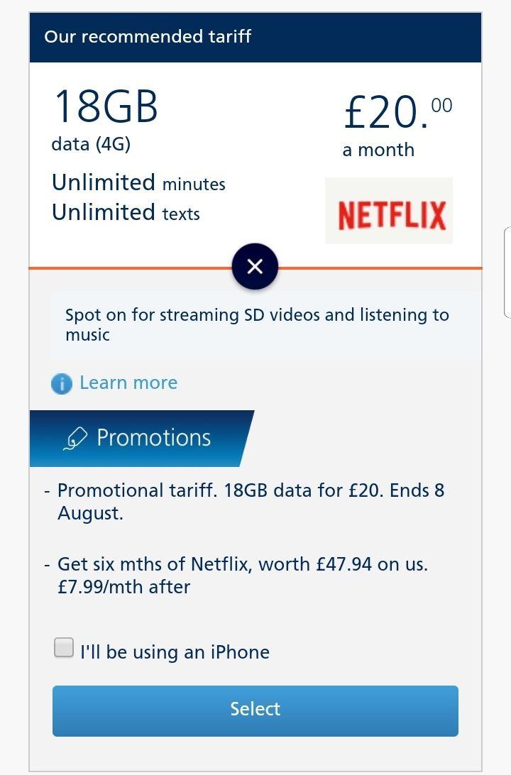 O2 12 Month 18GB SIM Only Plan for £20 p/m - £45 Amazon Voucher plus 6 months free netflix (£12.26 p/m eqv) via VoucherCodes
