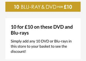 10 Blu-Rays or DVD's for £10 @ 365games