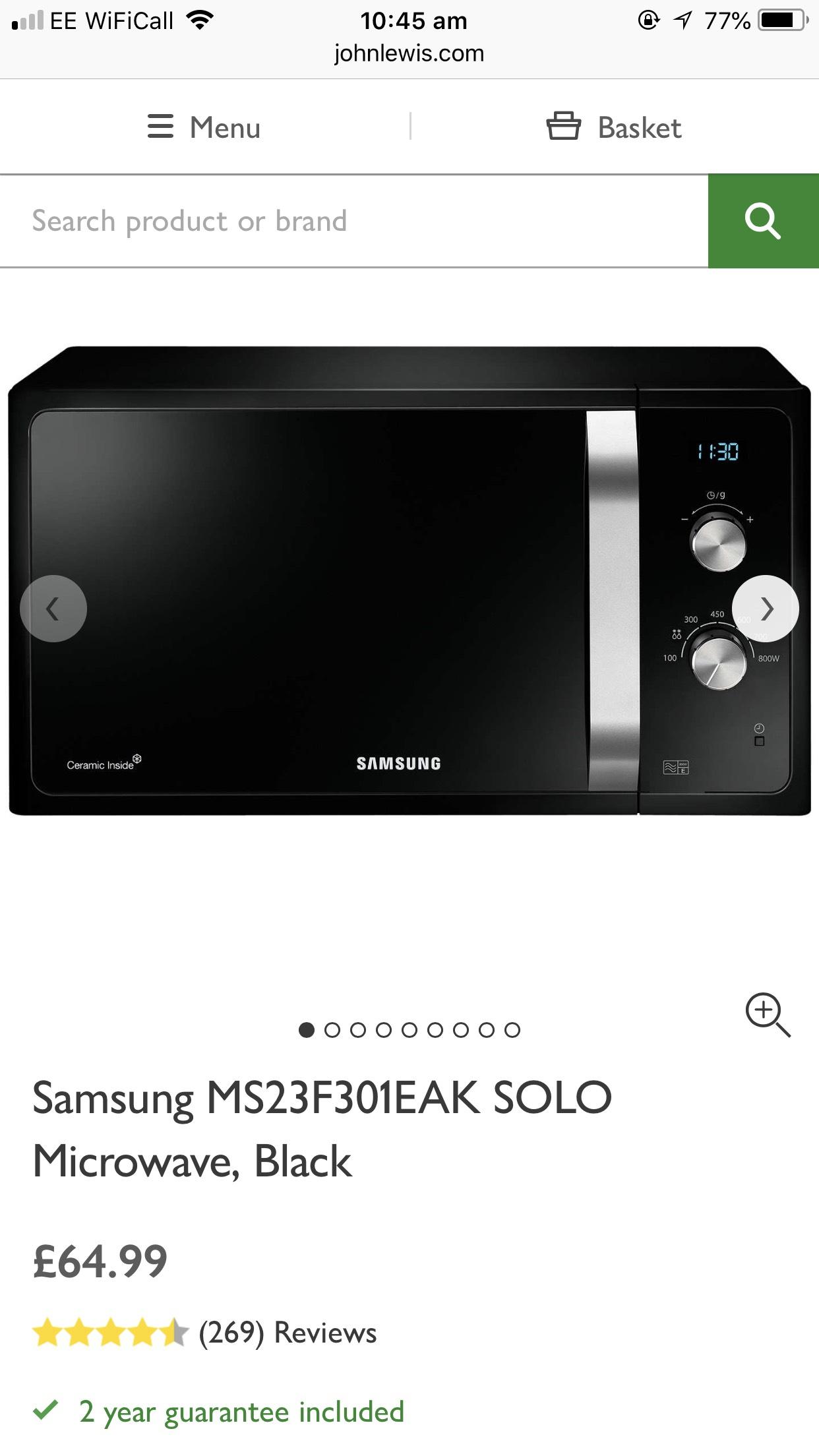 Samsung MS23F301EAK SOLO Microwave, Black £64.99 @ John lewis