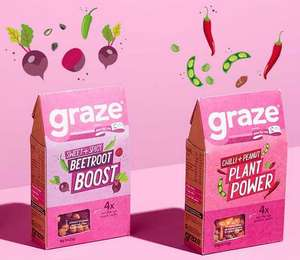 Graze Multipack 4 per pack - Beetroot Boost or chilli peanut plant power  39p Tesco