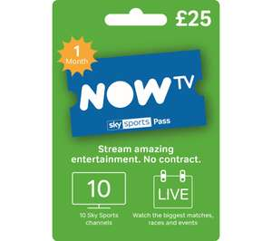 NOW TV Sky Sports 1 Month Pass - £25 @ Currys Online & @ Argos