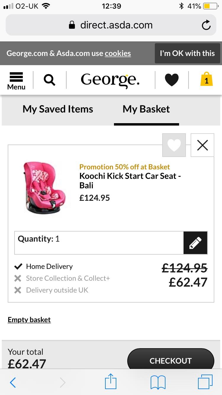 Koochi (part of cosatto) kick start car seat half price £62.47 @ Asda