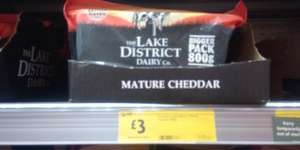 800g pack of Lake District Dairy Co. Mature Cheddar Cheese, just £3. Morrisons