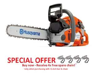FR Jones selected Husqvarna Chainsaws with 4 free chains e.g Husqvarna 550XP chainsaw (50.1cc) (15 inch bar & chain) £505 Inc VAT @ FR Jones and son