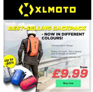 Xlmoto Slipstream backpack is Back - in different colours £12.99 @ XLMOTO