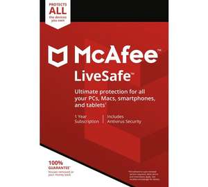 McAfee LiveSafe 1 Year - Unlimited Device £9.99 @ Argos