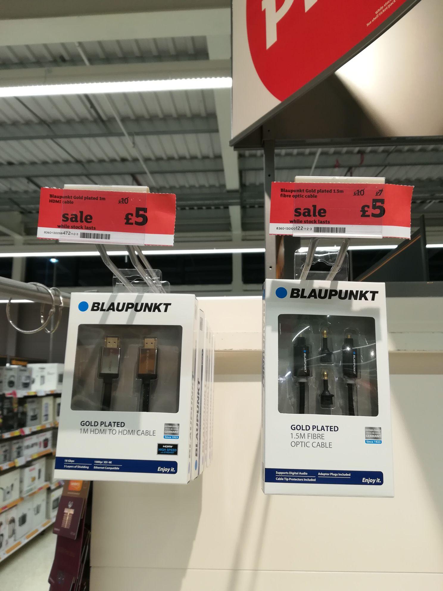 Blaupunkt HDMI or fibre optic cables half price (IN-STORE SAINSBURY'S) £5
