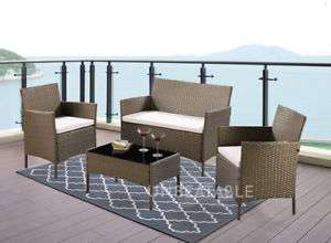 4 piece rattan garden / conservatory furniture set inc 2 chairs, sofa, coffee table & cushions in 4 colours £87.99 delivered with code @ eBay sold by unbeatable09