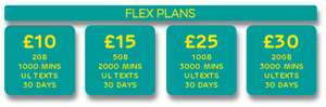 EE launch Flex 30day (Card payment) plans e.g £10 1000 mins & unlimited texts