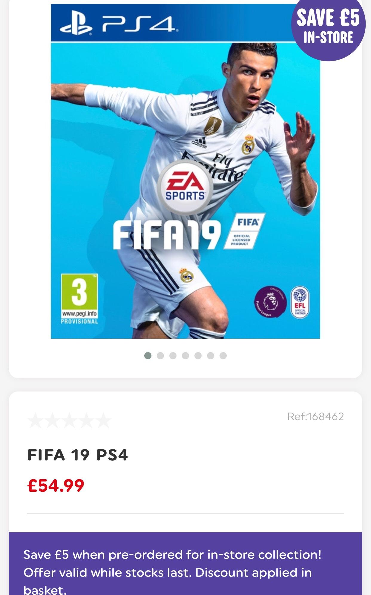 Fifa 19 PS4 £49.99 @ Smyths toys