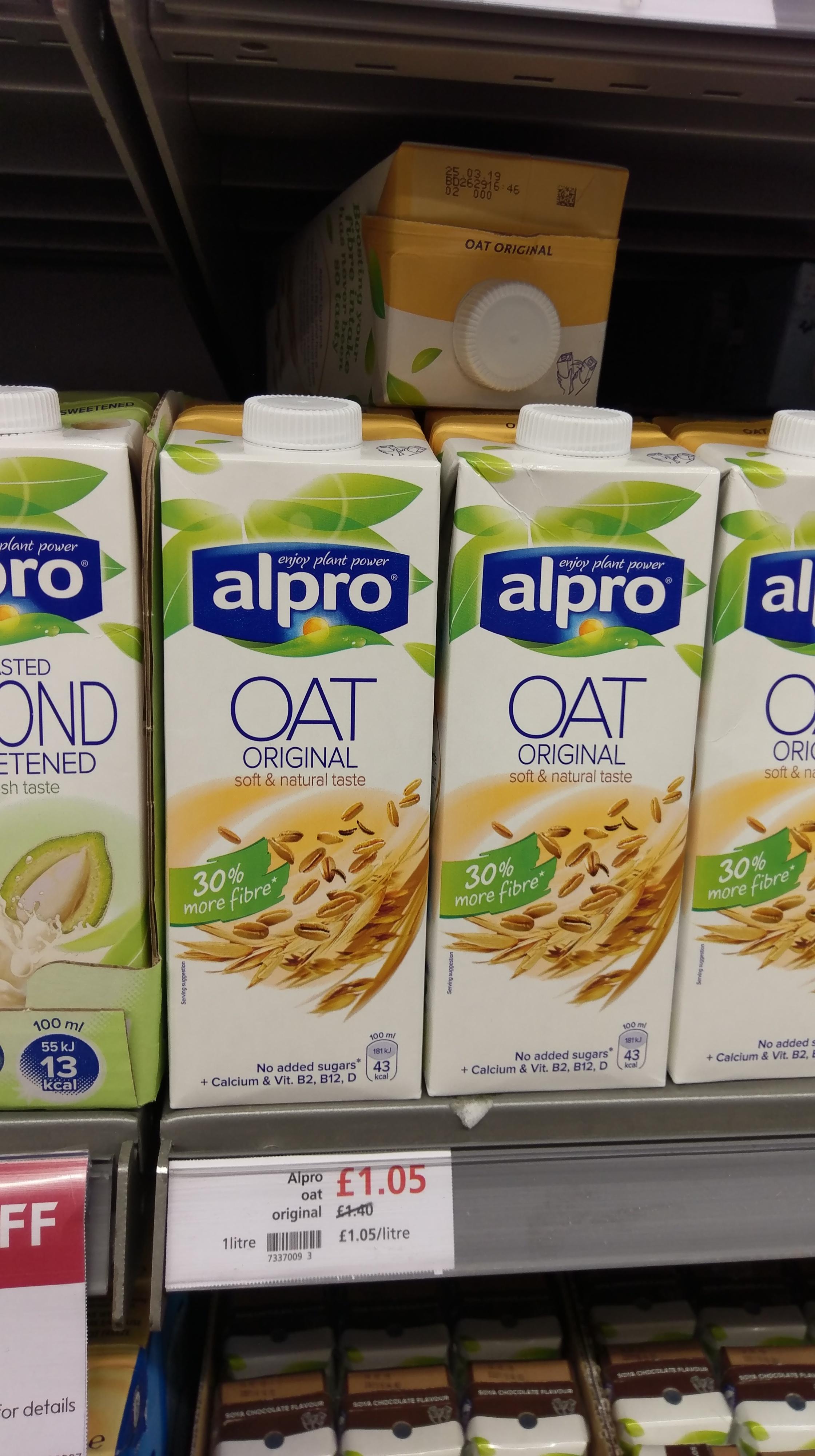 Alpro longlife original oat drink 1litre £1.05 @ Waitrose