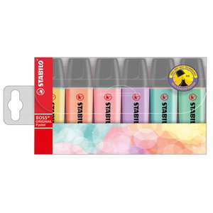 STABILO BOSS Pastel Wallet Pack of 6 £3.89 / STABILO Boss Highlighters Pack of 8 £4.89 + More (buy 5 get 15% off) @ Ryman