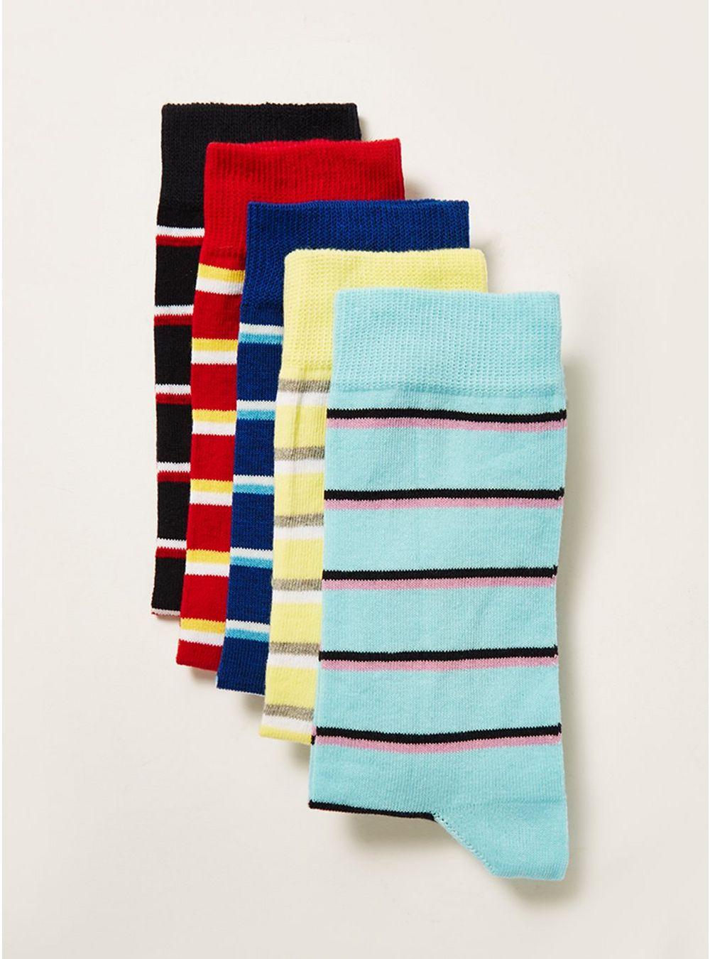 Assorted Colour Bold Stripe Socks 5 Pack for £9 delivered @Topman