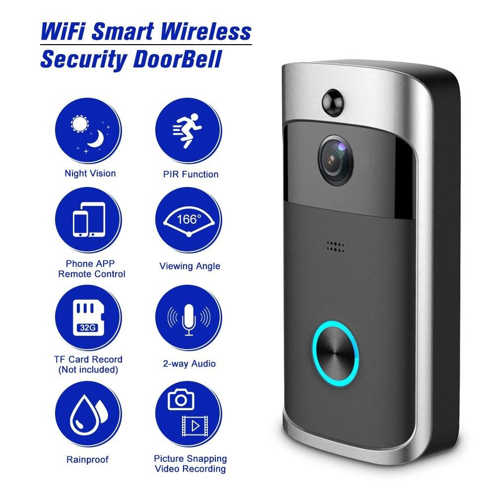 Smart Video Door Phone Visual Video Recording Wireless WiFi Security Door Bell - £23.99 @ TomTop
