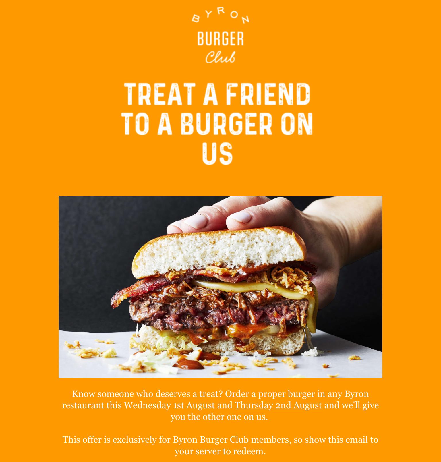 48 Hour BOGOF deal on Byron Burgers