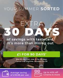 90 Days Tastecard for £1