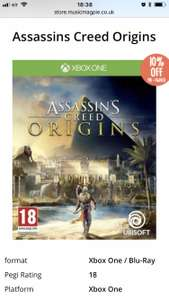 Assassins creed origins (Xbox one) @ musicMagpie preowned £14.21