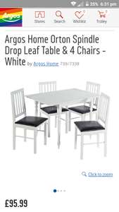 White dining set: 4 chairs & table £95.99 instore @ Clearance Bargains