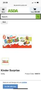 Kinder surprise 3 pack 1.50 Asda