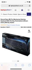 Roccat Ryos MK Pro Mechanical Gaming Keyboard With Per-Key Illumination & Brown Cherry MX Key Switch at Laptops Direct for £59.97