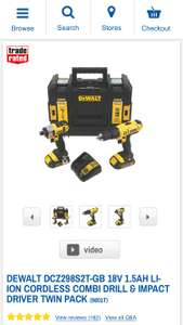 DeWalt 18V 1.5Ah Combi Drill and Impact Driver Twin Pack with 2x Batteries and 1x TSTAK Kit Box at Screwfix for £149.99