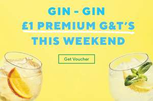 £1 double premium gin & tonic this weekend - works with 40% off mains and kids eat for £1 offer plus new gluten free / feel good menu @ Frankie and Bennys
