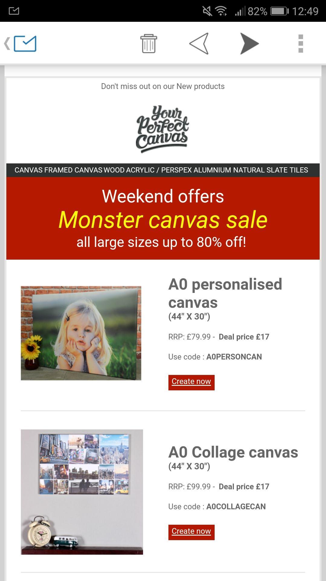 Weekend sale @ yourperfectcanvas, massive discounts.