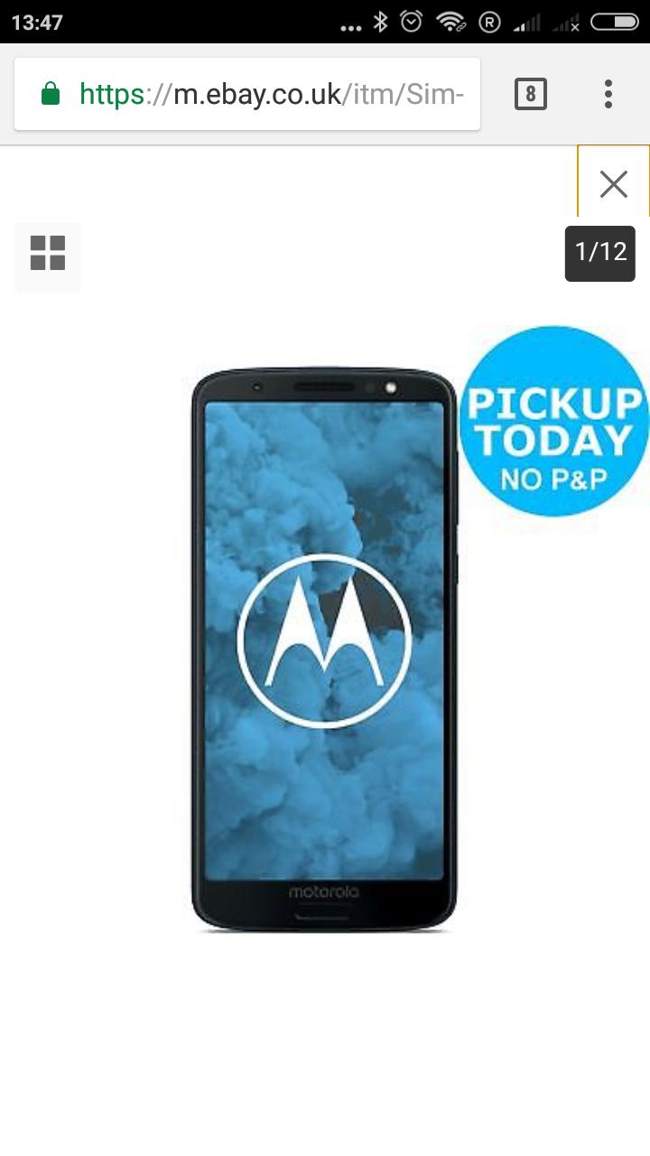 Sim Free Motorola Moto G6 Mobile Phone - Deep Indigo £179.95 with code From Argos eBAY