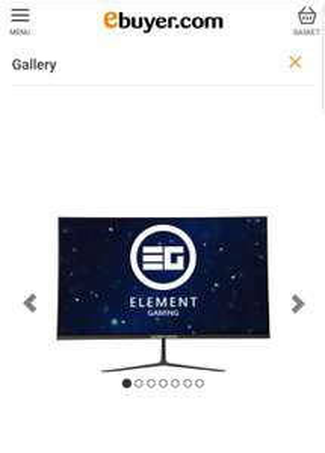 "Element Gaming 27"" QHD 144hz 1ms Gaming Monitor - £269.98 @ Ebuyer"