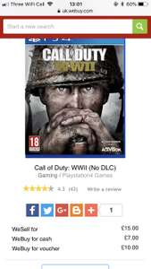 USED CALL OF DUTY WW2 £15.00 @ CEX