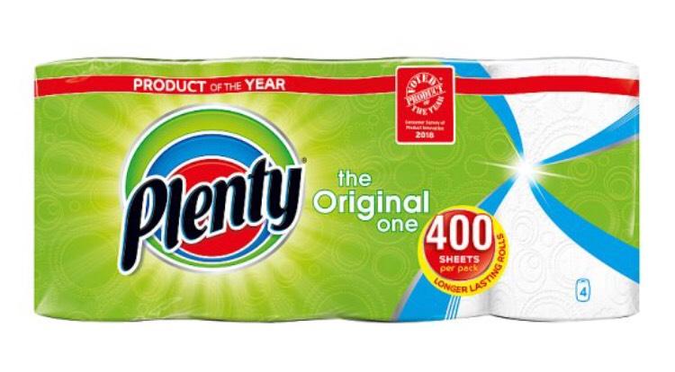 Plenty White Kitchen Roll 400 Sheets - £4 @ Tesco