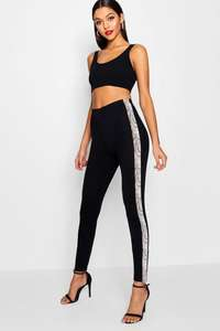 Snake Print Front Panel Crepe Leggings £6.95 delivered @ BooHoo