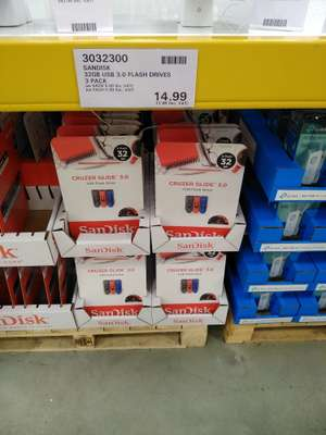 Sandisk 3 x 32GB usb3.0 cruzer slide drives for £17.98 at Costco warehouse