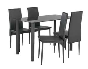 Hygena Flynn Round Leg Glass Dining Table & 4 Chairs - Grey - £87.99 @ Argos