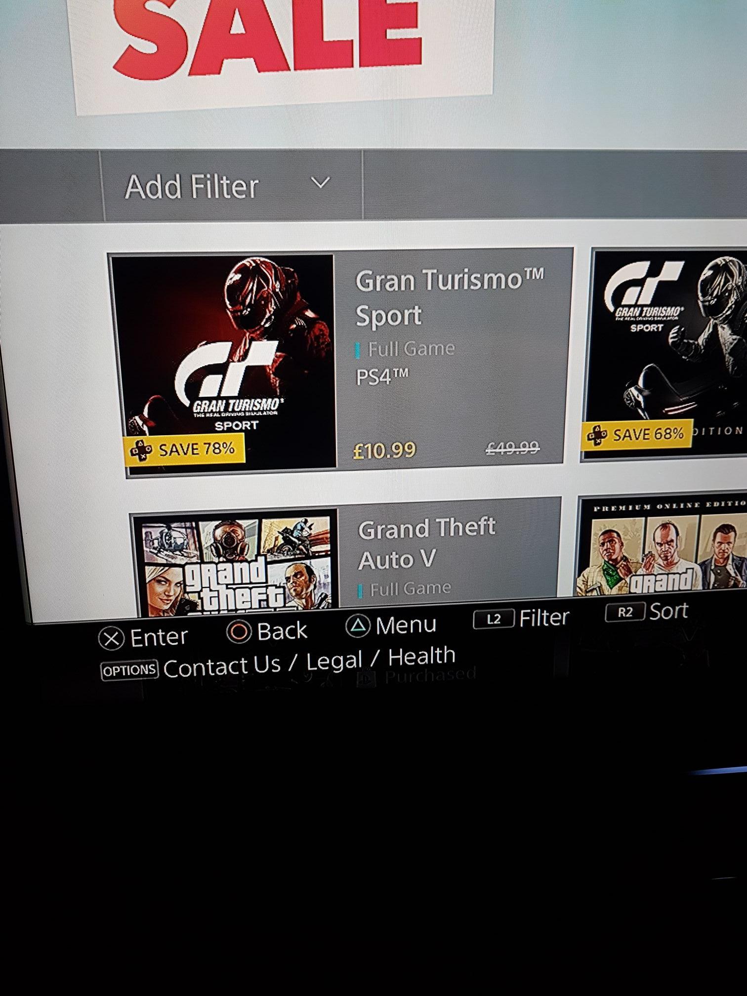 PS4 Gran Turismo Sport - £10.99 @ PSN (ps+)