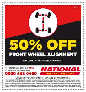 50% Off on Front Wheel Alignment at National Tyres