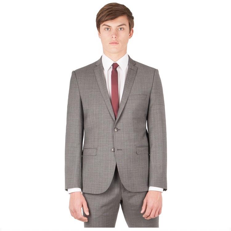 Ben Sherman - Grey with warm overcheck 2 button front super slim fit Camden suit jacket - £29 @ Debenhams (free C&C)
