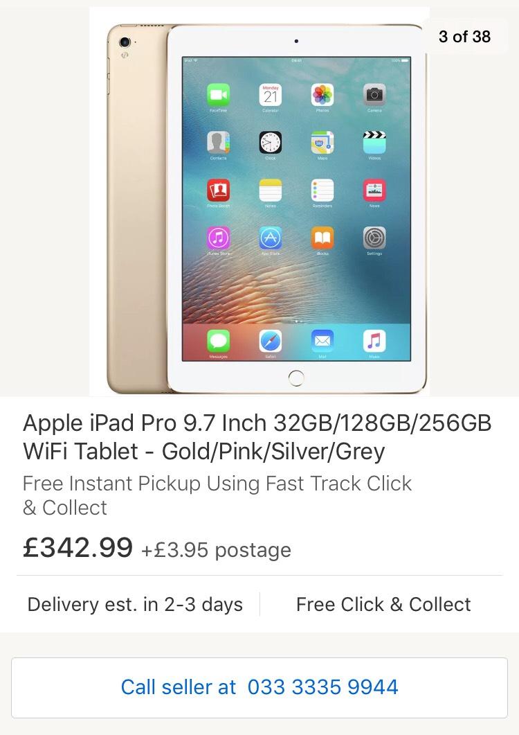 """iPad Pro 9.7"""" (2016) 32gb Gold at £342.99 Argos eBay"""