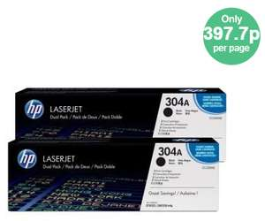 HP 304A Black Dual Pack Toner Cartridges - only £3.97 per page! Plus 6% TCB! £13918.60 - Ebuyer