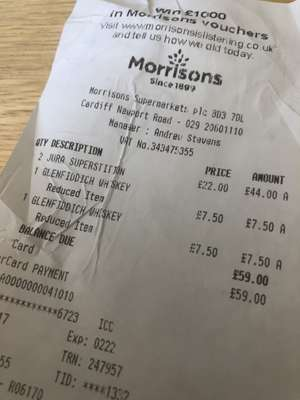 Reduced Whisky at Morrison's - Cardiff Newport Rd e.g Jura Superstition (70cl) from £35 to £22