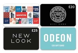20% off Gift Cards - Pizza Express - Gap - Odeon - New Look @ Tesco online and instore