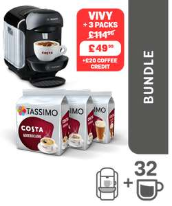 TASSIMO Black VIVY 2 machine + 3 packs Coffee + £2 x £10 vouchers = £39.99 w/code @ Tassimo