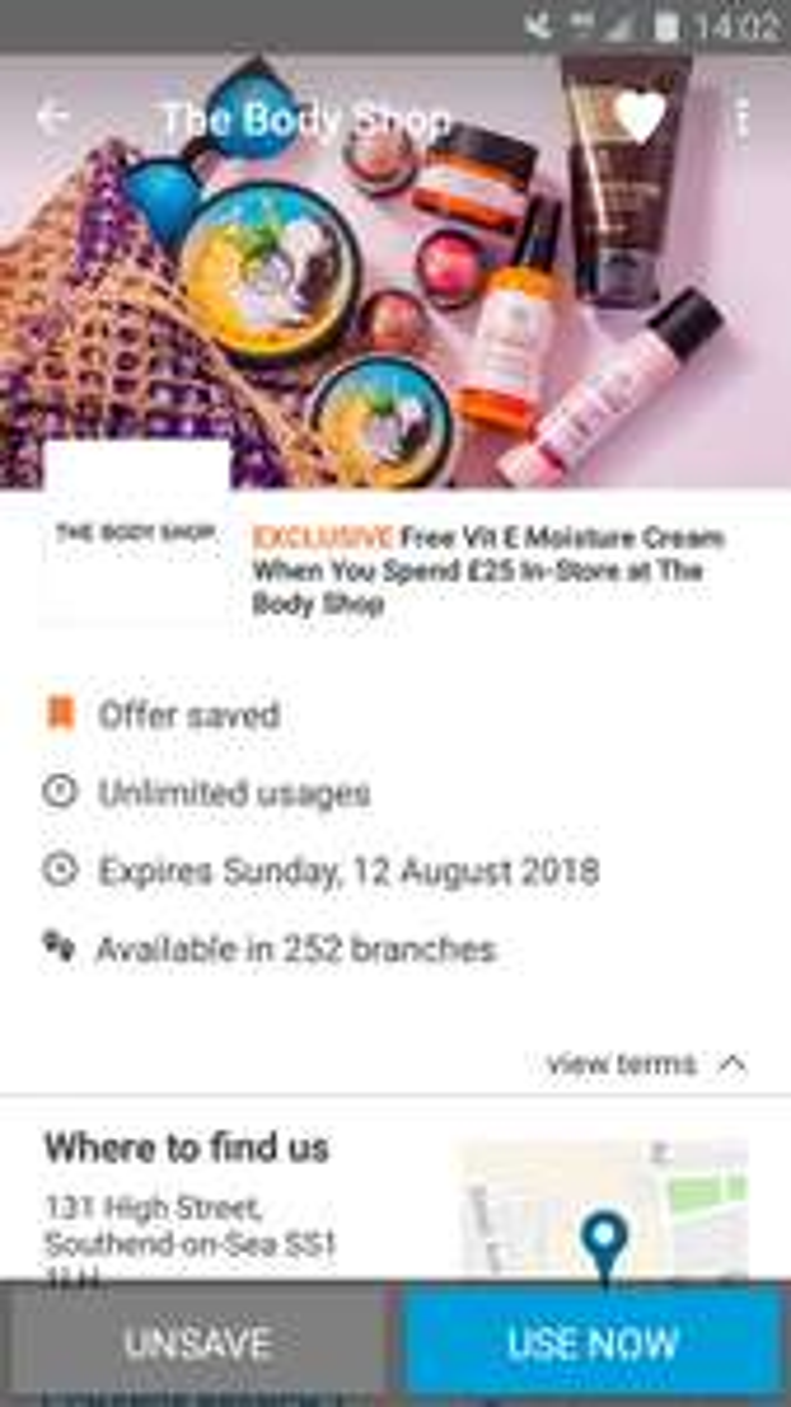 Free Body Shop Vitamin E Cream - when you spend £25 using VoucherCloud app