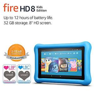 Fire HD 8 Kids Edition Tablet: 1 year Fire For Kids Unlimited, Kid-Proof Case and 2 year unlimited replacement guarantee £94.99 @ Amazon