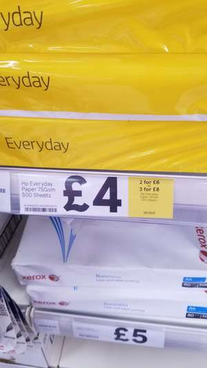 Hp everyday A4 paper 2 for £6 and 3 for 8 @ tesco