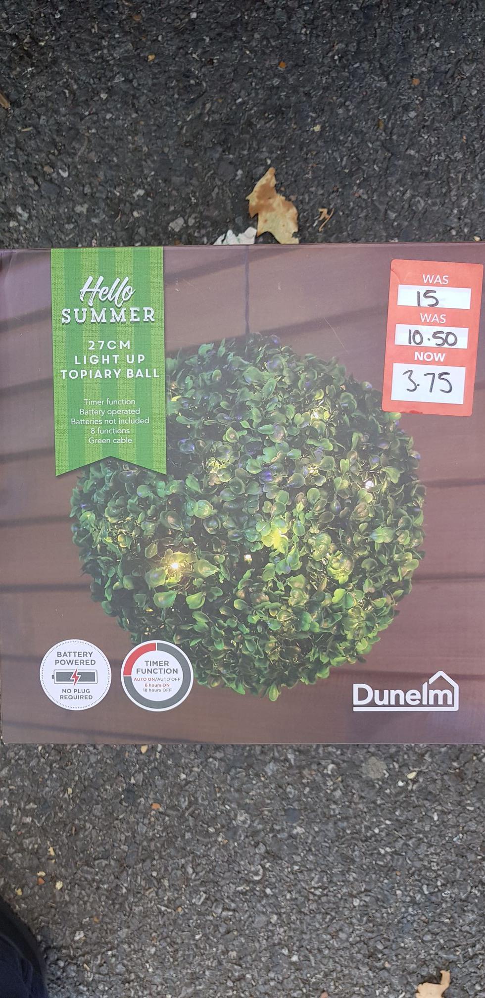Light Up Artificial Topiary Ball £3.75 Dunelm - c&c