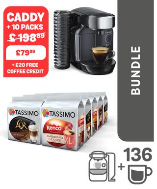 TASSIMO CADDY machine + 10 packs + £20 credit £69.99 + 12% Quidco @ Tassimo