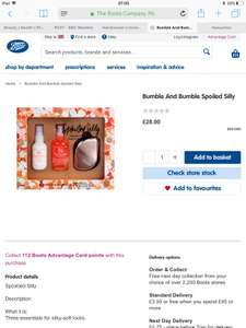 Bumble And Bumble Gift Set. The oil is worth £35 on its own! £28 @ Boots (free C&C)