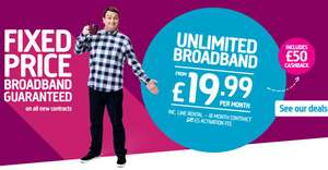 NEW Plusnet Fixed price Unlimited Broadband 18mth Contracts from £19.99 + £5 activation fee with £50 cashback